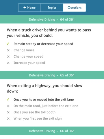 Screenshots of US Driving Knowledge Test Questions - Preparation for your Driver's License Written Exam - All States - DMV, DOL, or MVC - Free Drivers' Mock Tests for iPad