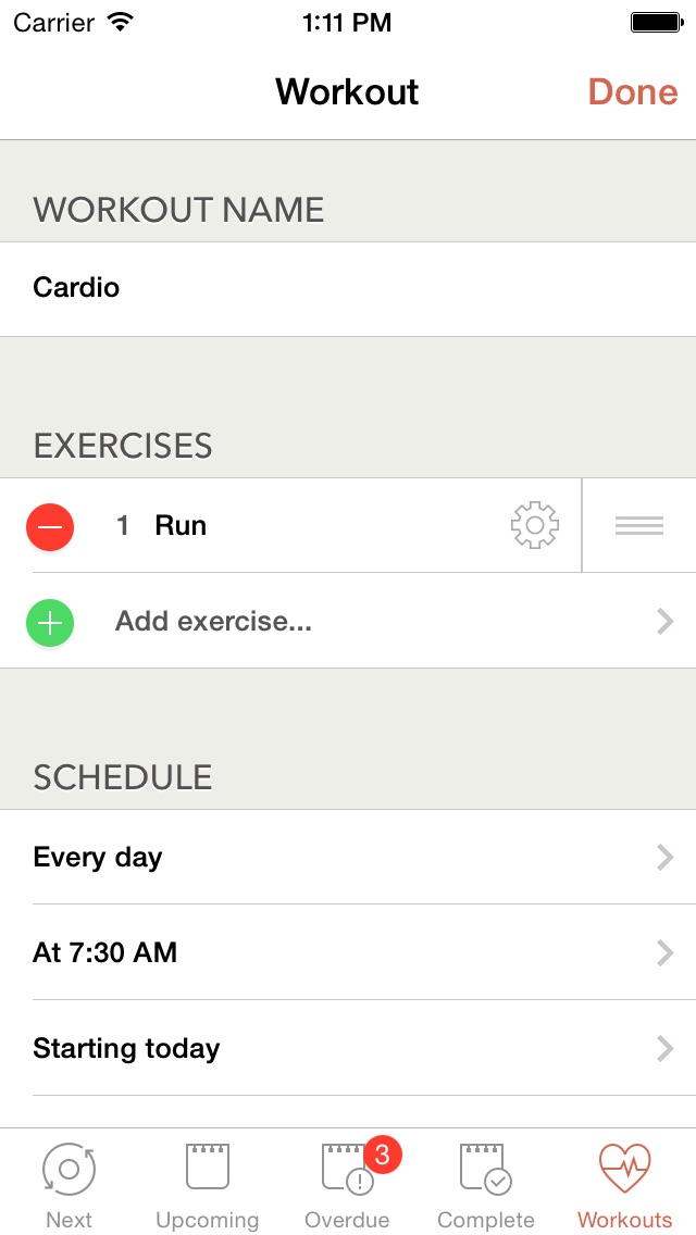 Workout Calendar App : Workout plan fitness schedule journal iphone app