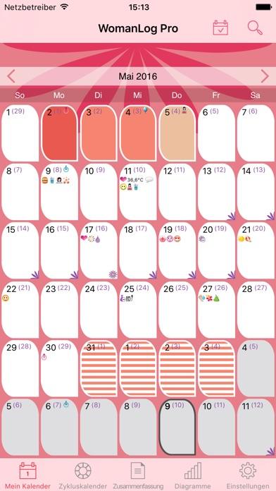 WomanLog-Pro-Kalender Screenshots
