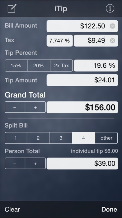 Screenshots of iTip Calc by PalaSoftware for iPhone
