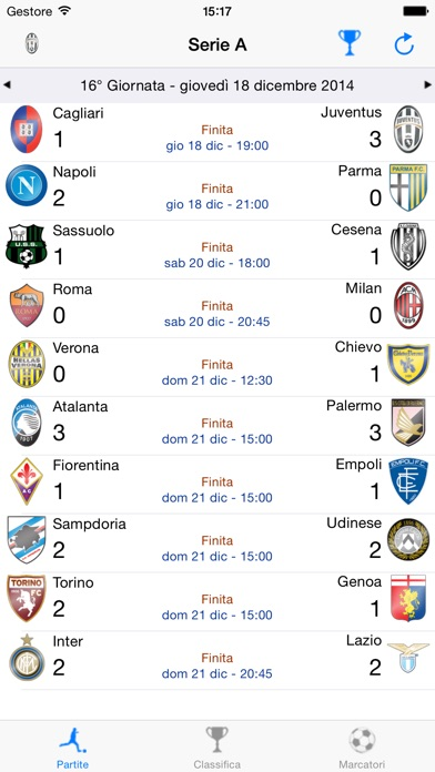 Screenshot of Tutto il Calcio 2017/20181
