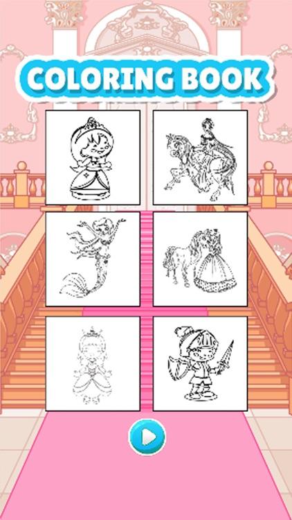 princess coloring book drawpaint games for kid screenshot 3