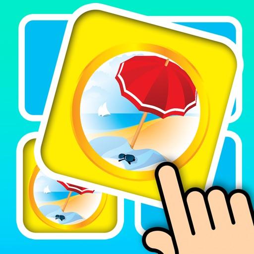 3D Memo match Summer Beach - Pair card matching brain trainer iOS App