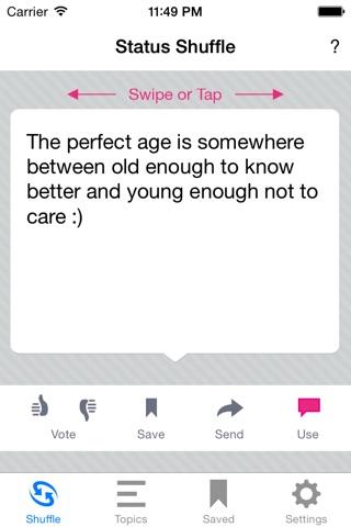 Status Shuffle for Facebook screenshot 1