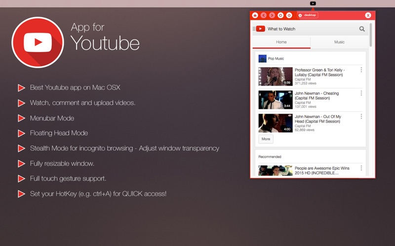 App for Youtube - Pro - Menu Tab app for Macs - download for MacOS