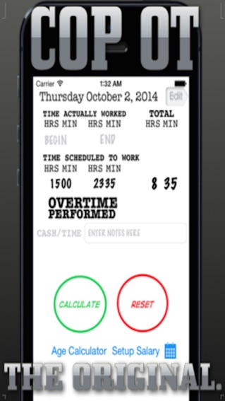 CopS Overtime Calculator On The App Store
