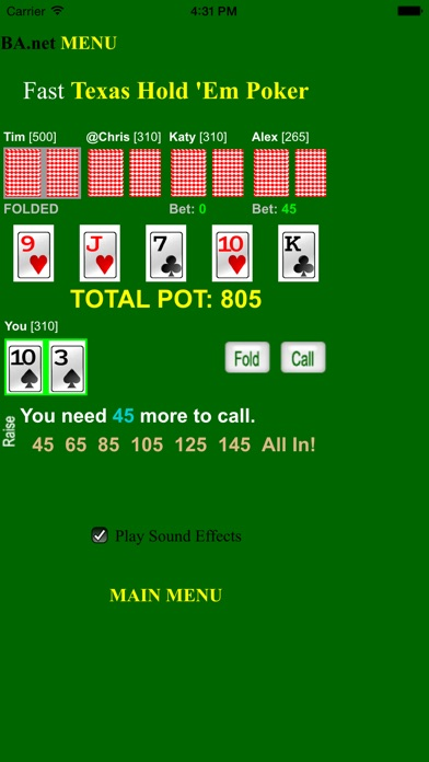 Screenshots of free Fast Poker Texas Hold 'Em - BA.net for iPhone