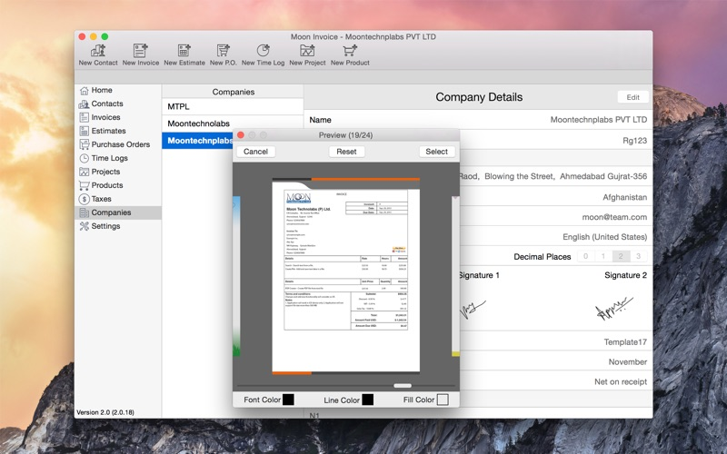 Free Downloadable Invoice Template Word Moon Invoice  Estimate Purchase Order Timesheet On The Mac App  Invoice Sample Excel Word with Contractor Invoice Sample Word Screenshot  Receipts Cause Cancer Word