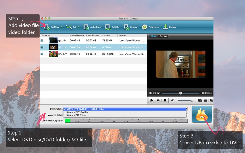 Screenshot #1 for Free DVD Creator - best free dvd maker/ dvd menu