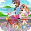 Blowing Bubbles On Bicycle-Cute Girls Magic Dress Up And Makeovers