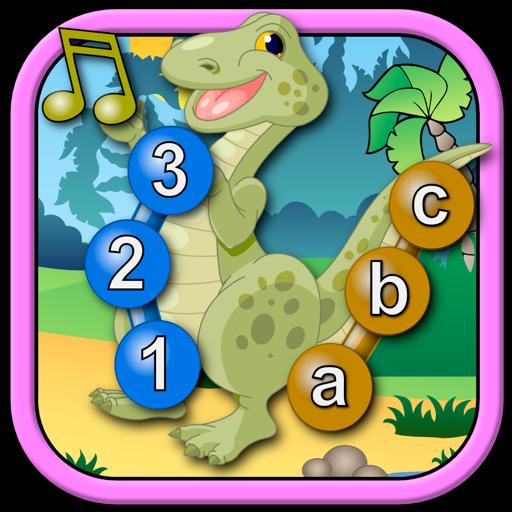 Дети присоединиться к динозавра и подключить точками головоломки - Рекс учит цифры ABC и подсчета