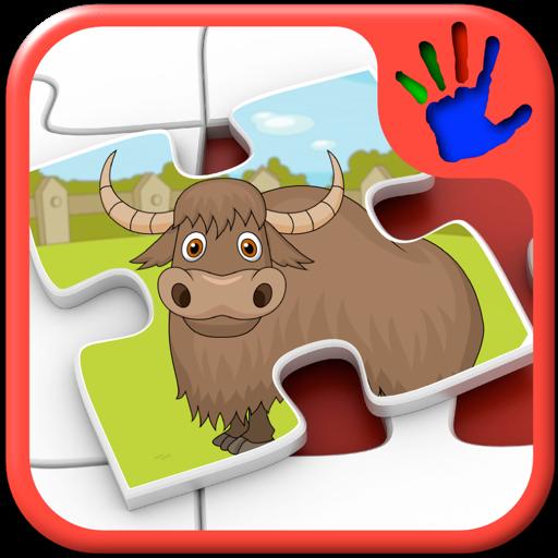 孩子们动物园动物拼图形状-教育幼儿游戏教匹配技能