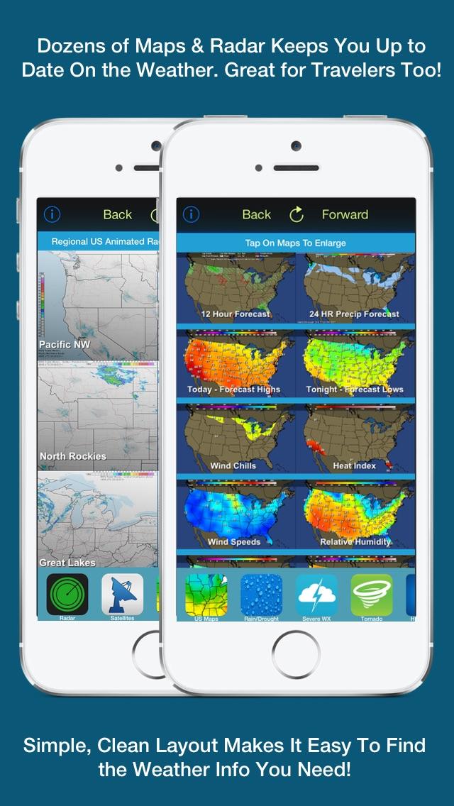 Screenshot #2 for US Weather Tracker Free - Weather Maps, Radar, Severe & Tornado Outlook & NOAA Forecast