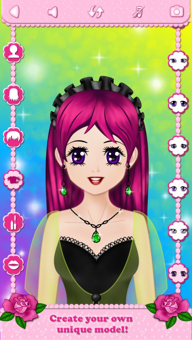 Screenshots of Make Up Makeover Dress Up Star Model Popstar Girl Beauty Salon - free educational makeup games for girls loving fashion in anime style for iPhone