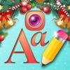 聖誕照片展台作家為編輯假日圖片和寫作牌