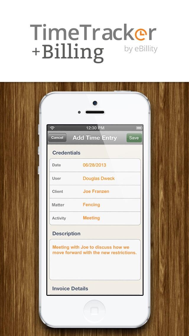 Screenshot of Time Tracker + Billing by eBillity1