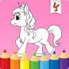 Unicorns coloring book game for kids - Free girls drawing, painting & doodling studio
