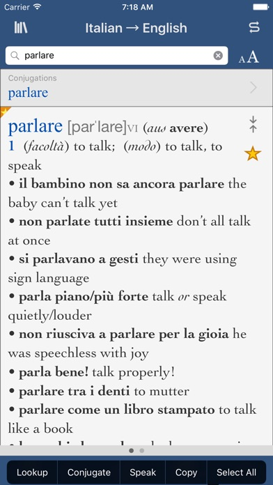 Collins Italian-English Translation Dictionary and Verbs screenshot one