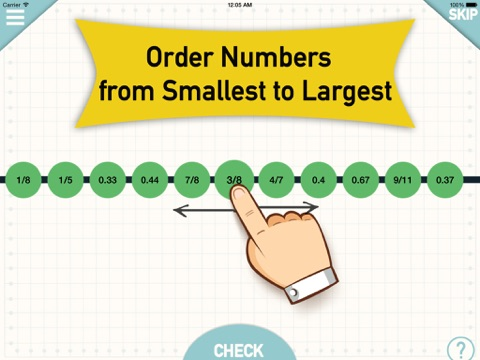 Number Line - Order Fractions,Decimals,Whole Numbers and Negative Numbers screenshot one