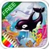 Libro per bambini in inglese. Animali del mare da colorare. Versione gratuita.