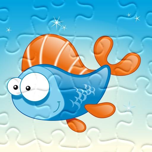 Puzzle de la mer - jeu de puzzles pour enfants en bas âge et les parents! Apprendre avec des poissons, anguilles, crabes, tortues, l'eau, océan, requin de la maternelle, école maternelle et l'école maternelle