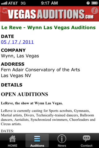 Vegas Auditions - Las Vegas entertainment jobs & casting notices screenshot 4