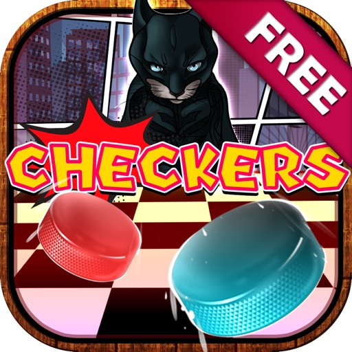 "Checkers Boards Puzzle Free - "" Cats Superheroes Game with Friends Edition "" iOS App"