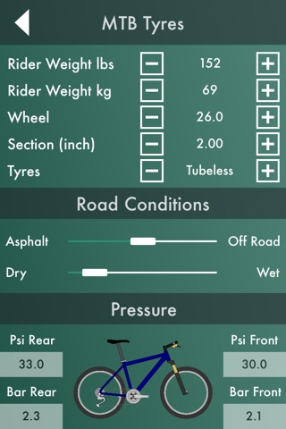 Bike Workshop  : Tire Pressure Calculator, Gear Ratio Calculator, and Speedometer screenshot 1