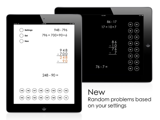 Left-to-Right Subtraction Screenshots