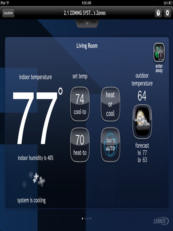 lennox icomfort thermostat. ipad screenshot 1 lennox icomfort thermostat