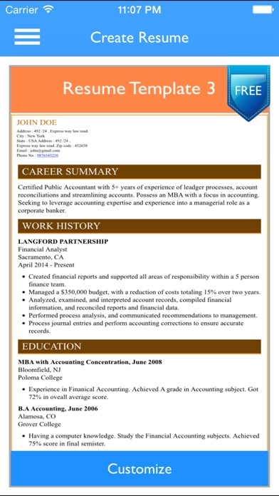 Financial Analyst Resume Sample Pdf Free Resume Builder App  Professional Cv Maker And Resumes  Internship Objective Resume with Law School Resume Examples Excel Iphone Screenshot  Resume For Business School Word