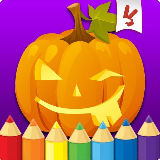 万圣节着色书幼儿:儿童绘画,绘画和涂鸦儿童游戏