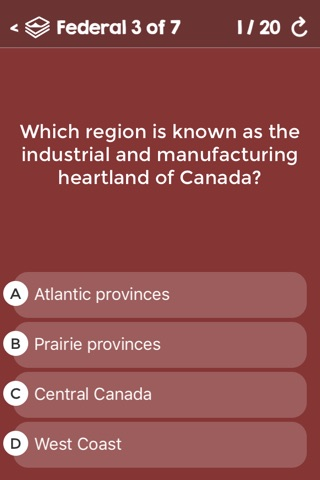 Canadian Citizenship Test Questions - Federal & Provincial Exams - Alberta, British Columbia, Manitoba, Ontario, Quebec screenshot 2