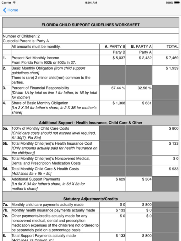 Florida Child Support Calculator on the App Store – Child Support Guidelines Worksheet