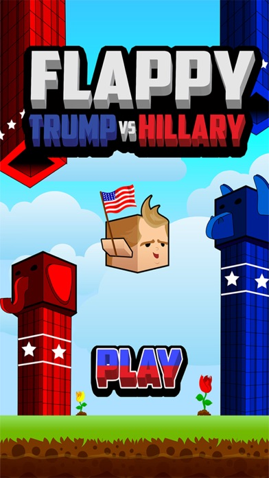 Screenshot of Flappy Donald Trump vs. Hillary Election Run – Face Off Flyer President1