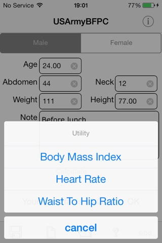 Army Body Fat Percentage Calculator for iPhone screenshot 2