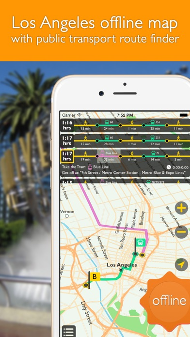 download Los Angeles offline map with public transport route planner for my journey apps 2