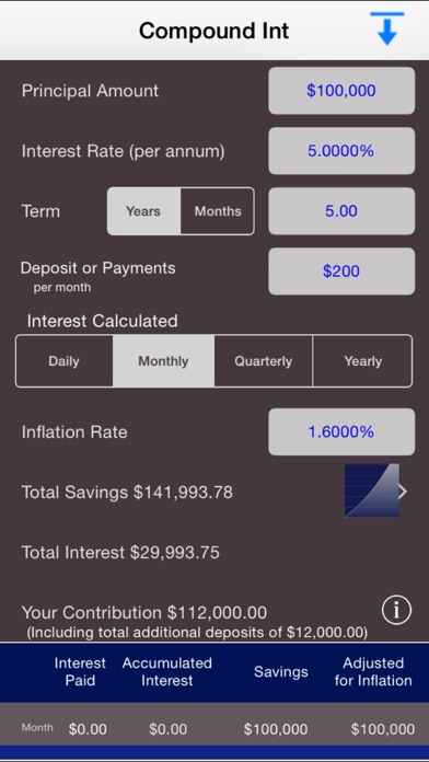 Compound Interest Calc Screenshot