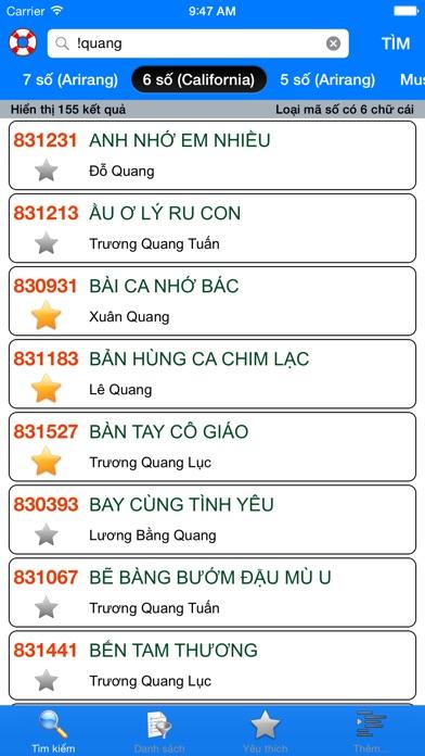 download VNKaraoke Pro - Tra cứu mã số karaoke 7, 6, 5 số Arirang, MusicCore, ViTek, Sơn Ca, Việt KTV apps 3