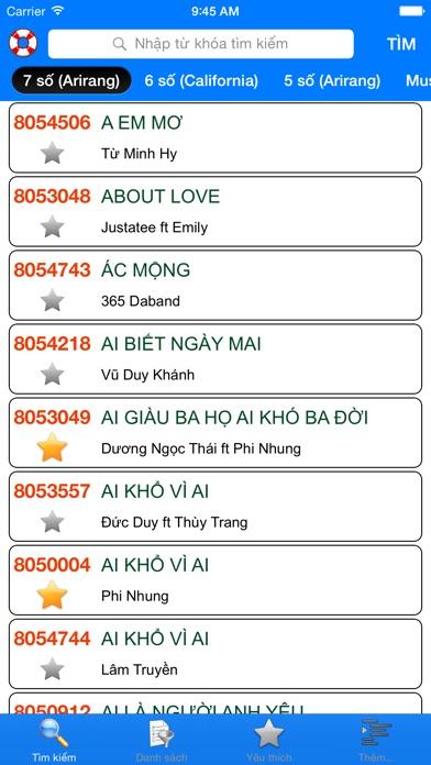 download VNKaraoke - Tra cứu mã số karaoke 7, 6, 5 số Arirang, MusicCore, ViTek, Sơn Ca, Việt KTV apps 1