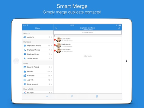 Screenshot #1 for Smart Merge - Cleanup Duplicate Contacts