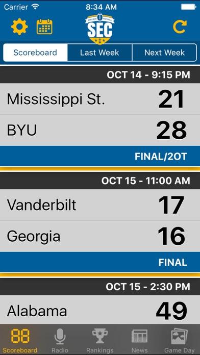SEC Football Schedules, Scores & Radio Screenshot