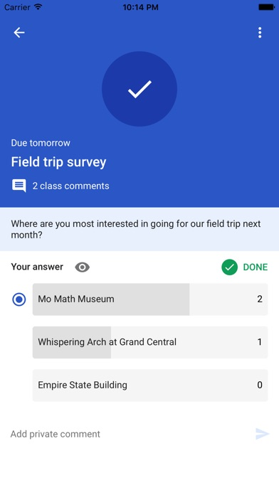 Screenshots of Google Classroom for iPhone