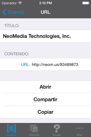 NeoReader®-QR&BarcodeScanner screenshot 2