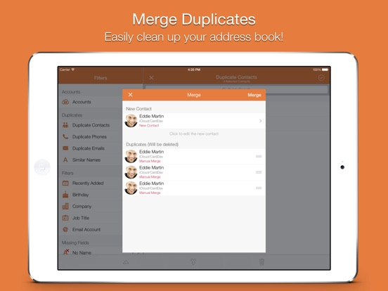 Screenshot #2 for Cleaner - Remove Duplicate Contacts